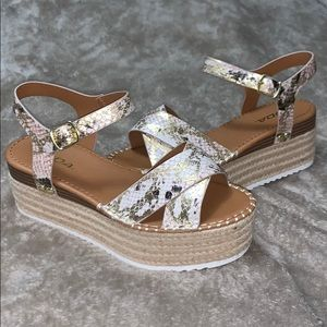 Snakeskin printed leather sandals NWOT